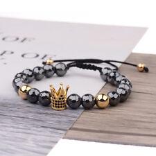 Fashion Luxury Micro Pave CZ Ball Crown Braided Adjust Men Women Bracelets Gift