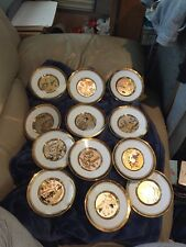 Asian Chokin 12 plates Late Autumn Hamilton  Collection 23kt Gold Trim & Design