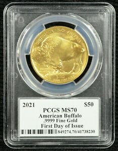 2021 $50 1 Ounce Gold Buffalo PCGS MS70 First Day of Issue - Cleveland Signature