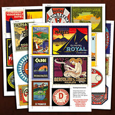 30 Reproduction vintage TRAVEL LUGGAGE LABELS hotel label stickers tags