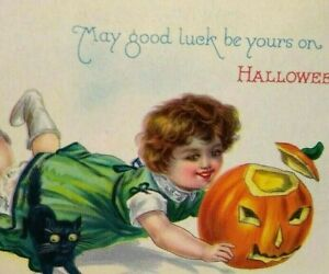 Vintage Halloween Postcard Green Dress Girl Goblin Black Cat Stecher Unused 1290