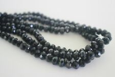 100 pce Black Faceted Crystal Cut Abacus Glass Beads 6mm x 4mm