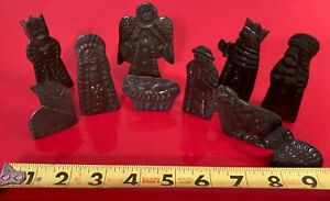 Vintage Mexican Folk Art Punched Tin Christmas Nativity 10 pc Set Simple