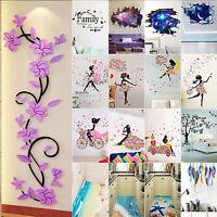Galaxy Sky Scenery Flower Starry Girl 3D Wall Sticker Vinyl Art Mural Decal Home