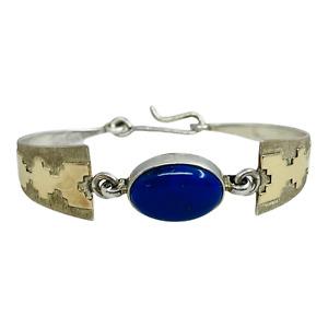 Carlton Gamon Navajo Sterling Silver 14k Gold Lapis Lazuli Southwest Bracelet