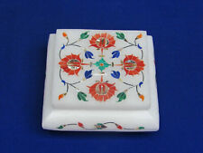 Marble Jewelry Box Inlay Stone Work Carnelian Handmade Home Decor for gifts
