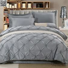 Grey Quilt Duvet Doona Cover Set Queen/King Size Bedding Set Covers Pillowcases