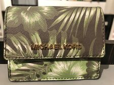 MICHAEL KORS PALM LEAF JET SET TRAVEL CARD CASE ID KEY HOLDER OLIVE WALLET MK