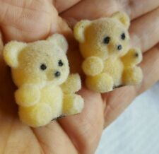 2 Vintage Tiny Flocked Teddy Bears for Crafting or Decorating • Nice Condition