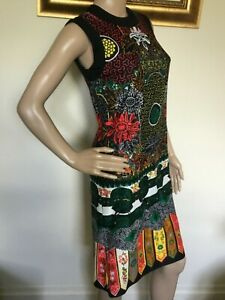 60's Vintage Black Psychedelic Red Yellow Print Mod Scooter Dress