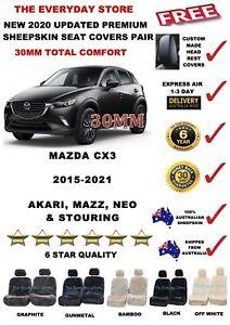 Mazda CX-3 15-21 DK Premium Plus Sheepskin Seat Covers Pair Airbag Safe 30MM TC