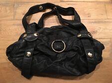 Gustto Ink Blue Black Leather Gold Hardware Large Oversized Shoulder Bag