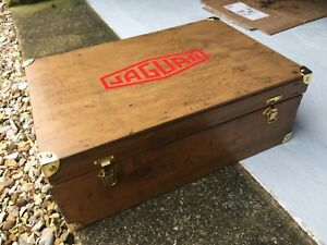 Vintage wooden tool box vintage Jaguar sticker