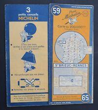 Carte MICHELIN old map n°59 ST BRIEUC RENNES 1946 Guide Bibendum pneu tyre