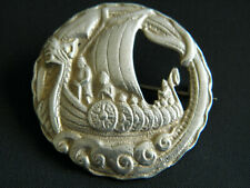 LOVELY HALLMARKED SOLID SILVER VIKING LONG BOAT BROOCH Shipton & Co Chester 1941