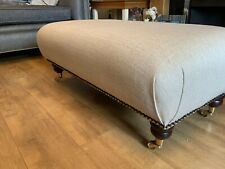 Footstool Stool In Laura Ashley Edwin Natural Fabric