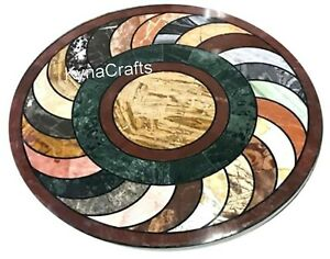 36 Inches Marble Dining Table Top Geometric Pattern Patio Table for Garden Decor