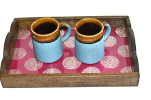 Wooden Glass Serving Tray With beautiful IndianBanarsi Print Coffee Table Tray