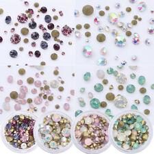 4 Boxs 3.5g Sharp Back 3D Rhinestones Multi-size AB Color Stones Nail Art Decor