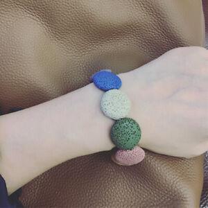 Damen Armband Vulkansteinperlen Bunt handgemacht