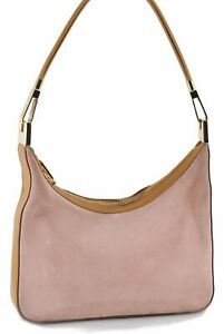 Authentic GUCCI Shoulder Bag Suede Leather 0013812 Pink Brown C8483