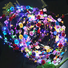 Colorful LED Light Party Carnival Flower Bride Wreath Garland Hair Accessories