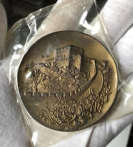 1980 Chinese Exhibition Plum blossom & Great Wall brass medal 60mm Rare