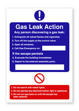 GAS LEAK ACTION WARNING SELF ADHESIVE STICKERS SAFETY SIGNS BUSINESS
