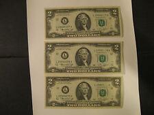 Three 1976 US TWO DOLLAR (Bicentennial) Bills-  #defect #sequenced  (L = SF)
