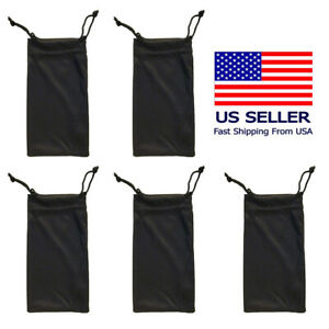 5 Black Micro Fiber Sunglasses Sunglass Carrying Pouch Case Bag Storage Sleeve