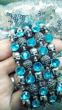 5-Row Crystal Skull Stretch Bracelet. Big, Heavy, BLING!! **BLUE**