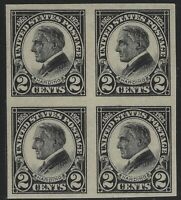 US Stamps - Scott # 611 - Harding Imperf Block of 4 - 2 MLH & 2 MNH      (E-300)