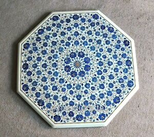 36 Inches Lapis Lazuli Stones Dining Table Top Marble Meeting Table Floral Work
