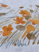New listing Vintage Vera Neumann Burlington King Flat Sheet Flowers Brown Orange 108 x 110�