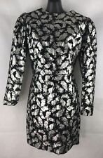 FARRUGIA Leather Designs Australia Size 10 Black & Metallic Silver Dress Unique