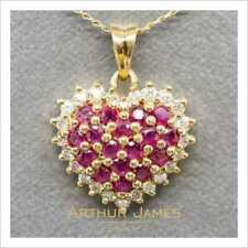 2 Ct Red Ruby Round Cut Diamond Gemstone Heart Shape Pendant Yellow Gold Finish
