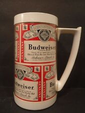 Vintage Thermo-Serv Budweiser Beer Insulated Mug/Glass 1970's Classic Label 16oz