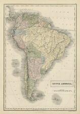 América del Sur Bolivia con litoral. Nueva Granada. Banda Oriental. Hall 1856 Mapa