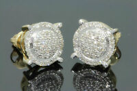 Men's Ladies 10K Yellow Gold Over 2.00 Ct Round Diamond 3D Circle Studs Earrings