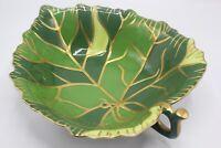 LYNN CHASE 'Jaguar Jungle' Large Leaf Shaped Gold Trimmed Serving Bowl