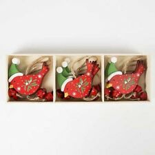 6x Red Robin With Hat & Bells Christmas/ Xmas Tree Hanging Decoration/Ornaments
