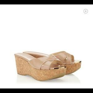 Jimmy Choo WORN ONCE $480 Prima Nude Patent Wedges Sandal Shoes Sz 38 - US 8