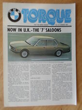 BMW TORQUE Newsletter Magazine Summer 1977 Edition 8 Brochure - 7 6 Series Ltd
