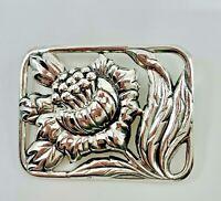 Vintage Danecraft 925 Sterling Silver Thistle Flower +  Leaves Brooch/Pin