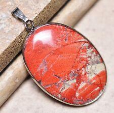 "Bloodstone Jasper Sea Sediment Quartz Natural Gemstone 1.75"" Silver Pendant #40"