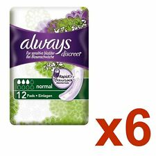 Always Discreet Sensitive Bladder Incontinence Pads Normal Odour Lock - 72 Pack