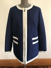 size L 14 European style Quilted outer coat jacket dark blue creamy white trim