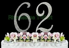 NEW Large Rhinestone  NUMBER (62) Cake Topper 62th Birthday Party Anniversary