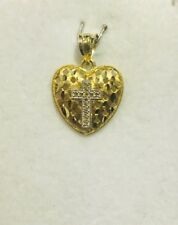 Pre Owned 10k Solid Yellow Gold Heart Cross Pendant 1.42 GM