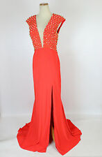 New Jovani Genuine 92083 Orange Nail-head Sleeveless Evening Prom Women Dress 2